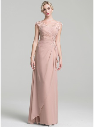 A-Line/Princess V-neck Floor-Length Chiffon Evening Dress With Beading Sequins Cascading Ruffles