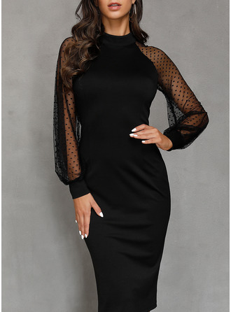 Polyester With Solid/Slit Midi Dress