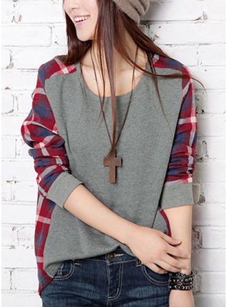 Color Block Polyester Round Neck Sweater Sweaters