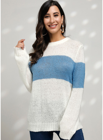 Color Block Cable-knit Chunky knit Polyester Round Neck Pullovers Sweaters