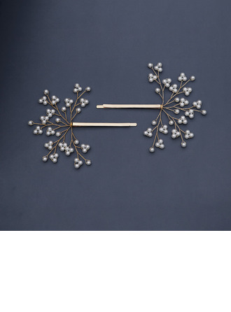Ladies Beautiful Imitation Pearls Hairpins With Venetian Pearl (Set of 2)