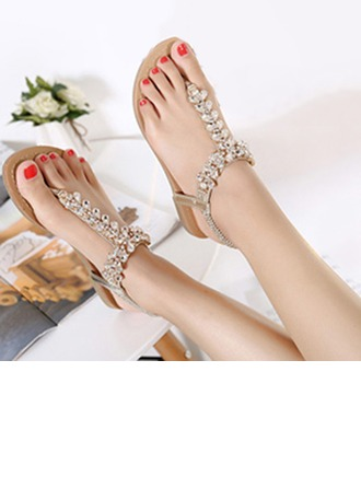 Femmes Similicuir Talon plat Tongs Sandales Beach Wedding Shoes avec Strass
