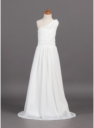 A-Line/Princess One-Shoulder Sweep Train Chiffon Junior Bridesmaid Dress With Ruffle Beading