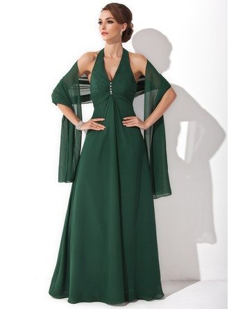 A-Line/Princess Halter Floor-Length Chiffon Mother of the Bride Dress With Beading