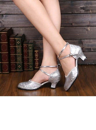 Women's Leatherette Pumps Modern Jazz Ballroom Salsa Party Tango With Ankle Strap Dance Shoes