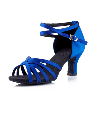 Women's Satin Heels Sandals Latin Ballroom With Ankle Strap Dance Shoes