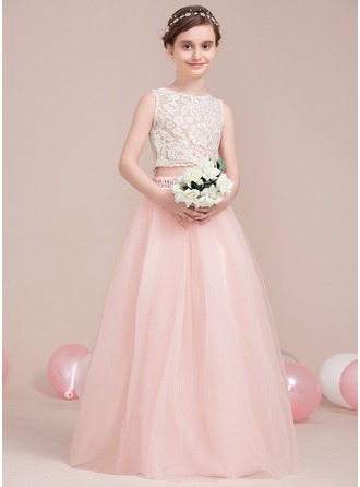 A-Line/Princess Scoop Neck Floor-Length Tulle Junior Bridesmaid Dress With Beading