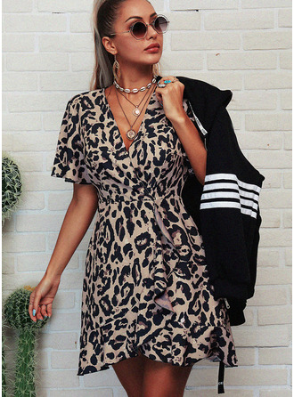 Leopard A-line V-Neck Short Sleeves Midi Casual Skater Dresses