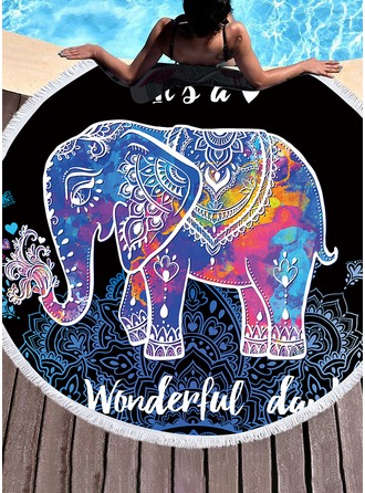 Elephant round/attractive Beach towel