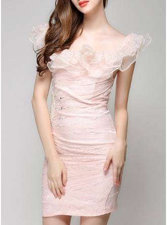 Lace/Tulle With Lace/Stitching/Ruffles/Rhinestone Above Knee Dress