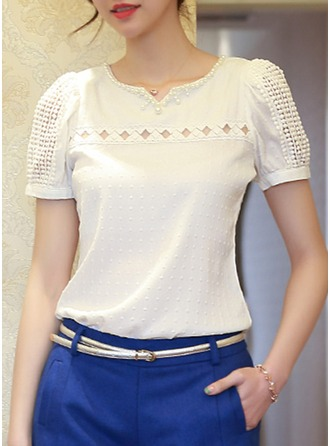 Plain Short Sleeves Cotton Round Neck Casual Blouses Bluzlar