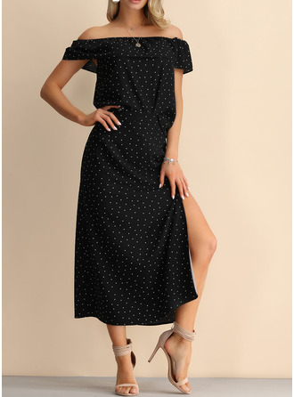 Polyester With PolkaDot Midi Dress (Two Pieces)