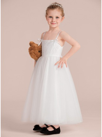 A-Line/Princess Ankle-length Flower Girl Dress - Satin/Tulle/Lace Sleeveless Straps With Bow(s)