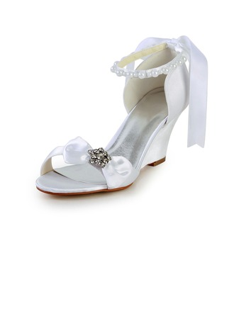 Women's Satin Wedge Heel Sandals Wedges With Bowknot Imitation Pearl Rhinestone Ribbon Tie