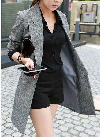 Blends Long Sleeves Plain Blazer
