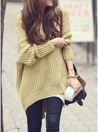 Knit Hooded Plain Sweater