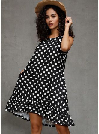 Polyester With Ruffles/PolkaDot Above Knee Dress