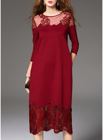 Polyester With Lace/Stitching/See-through Look Midi Dress