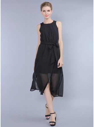Polyester/Chiffon With Plain Maxi Dress