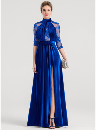 A-Line High Neck Floor-Length Velvet Evening Dress With Beading Sequins Split Front