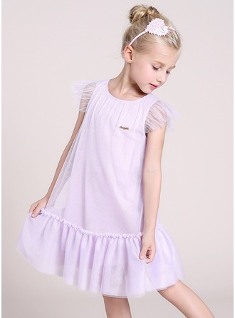 A-Line/Princess Knee-length Flower Girl Dress - Tulle/Polyester/Cotton Blends Sleeveless Scoop Neck