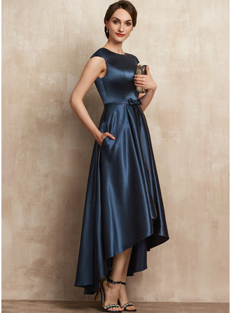 Scoop Neck Asymmetrical Satin Mother of the Bride Dress With Bow(s) Pockets