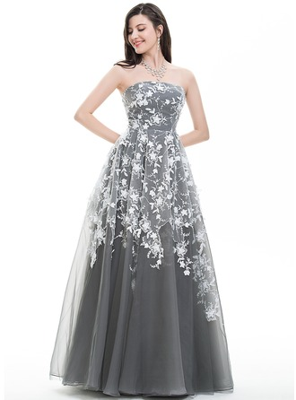 Ball-Gown Strapless Floor-Length Tulle Prom Dress With Sequins