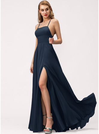 Square Neck Dark Navy Other Colors Chiffon Dresses