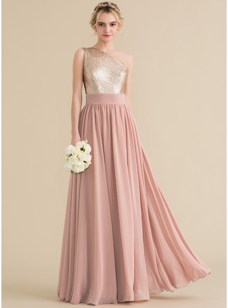 One-Shoulder Floor-Length Chiffon Sequined Prom Dresses