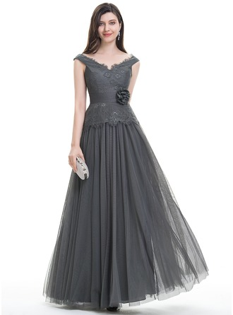 A-Line/Princess V-neck Floor-Length Tulle Evening Dress With Ruffle Flower(s)