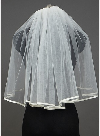 One-tier Elbow Bridal Veils With Ribbon Edge