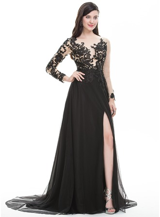 A-Line/Princess Scoop Neck Sweep Train Tulle Prom Dress With Beading Sequins Split Front