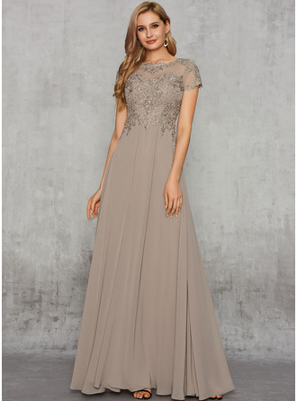 A-Line Scoop Neck Floor-Length Chiffon Evening Dress With Beading