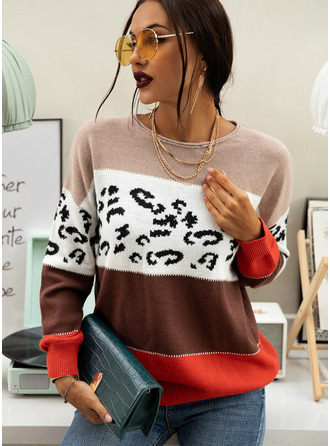Print Color Block Polyester Round Neck Pullovers Sweaters