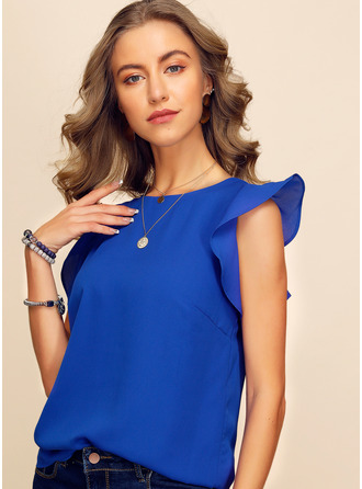 Sleeveless Polyester Round Neck Blouses