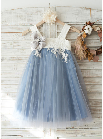 Knee-length Flower Girl Dress - Tulle Lace Sleeveless Straps With Appliques