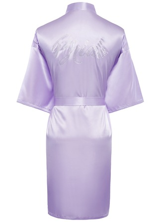 Personalized Bride Bridesmaid charmeuse With Tea-Length Personalized Robes
