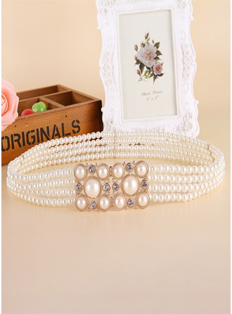 Gorgeous Imitation Pearls Sash With Rhinestones