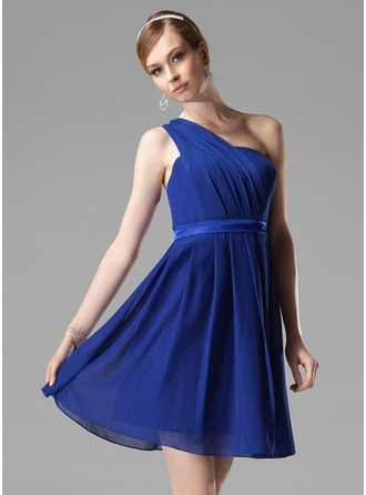 A-Line/Princess One-Shoulder Short/Mini Chiffon Bridesmaid Dress With Ruffle