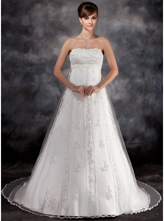 Empire Strapless Watteau Train Charmeuse Tulle Wedding Dress With Beading Appliques Lace