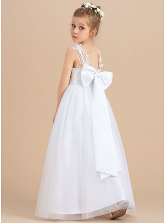 Ball-Gown/Princess Floor-length Flower Girl Dress - Tulle Sleeveless V-neck With Sequins Bow(s)