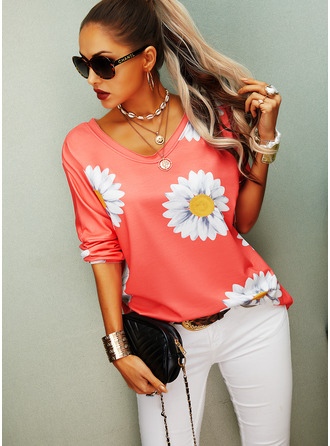 Regular Fitted Floral Print Casual Long Sleeves