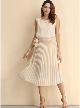 Chiffon With Solid Midi Dress