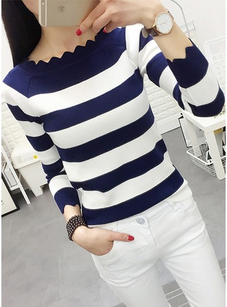 Striped Cotton Boat Neck Sweater Kazak