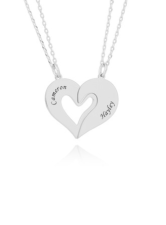 Custom Silver Broken Heart Engraved Necklace - Birthday Gifts Mother's Day Gifts