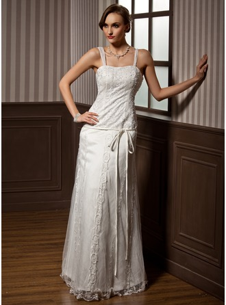 A-Line/Princess Sweetheart Floor-Length Tulle Wedding Dress With Lace Beading Bow(s)