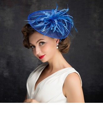 Dames Style Classique Feather/Fil net/Tulle/Lin avec Feather Chapeaux de type fascinator