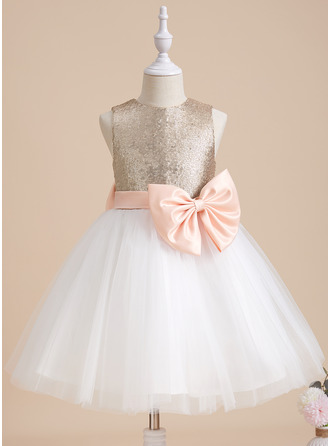 A-Line Knee-length Flower Girl Dress - Tulle/Sequined Sleeveless Scoop Neck With Sash/Bow(s) (Undetachable sash)