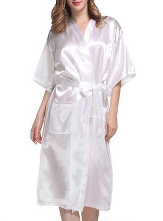Bride Bridesmaid Polyester With Tea-Length Satin Robes