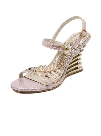 Women's Leatherette Wedge Heel Sandals Wedges Beach Wedding Shoes With Buckle Imitation Pearl Rhinestone